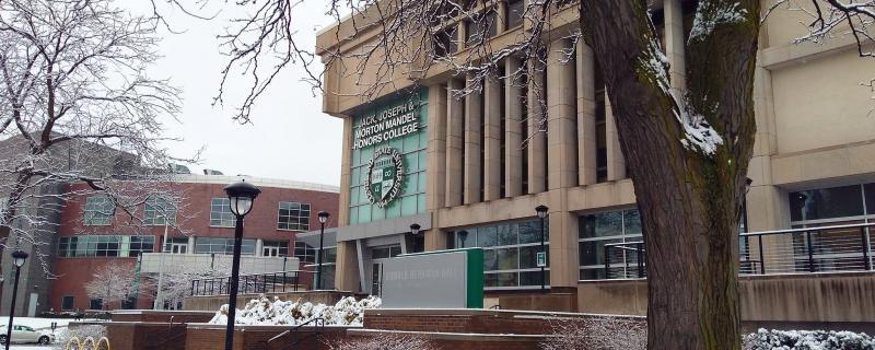 Photo of Berkman Hall with snow